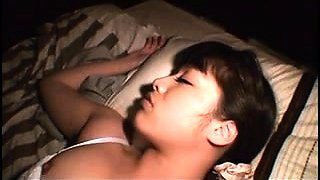 Sleeping Japanese babe gets her tight hairy cunt fucked good