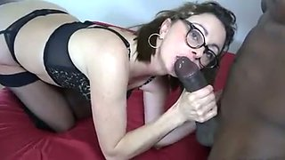 Awesome pallid brunette in glasses and stockings takes BBC in her holes