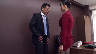 Big ass Japanese woman fucks at the office with the boss