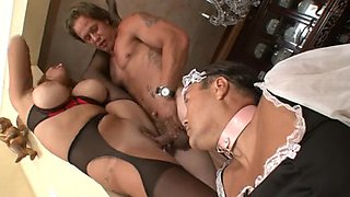 Curvy redhead screwed in front of her hubby