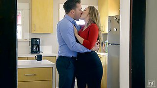 Ample breasted wife Lena Paul is fucked by horny husband in the kitchen