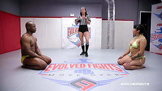 Mia Little competitive nude wrestling vs BBC of Will Tile