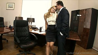 Lewd nerdy boss Aleska Diamond gets her wet pussy licked and fucked well