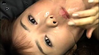 Nasty Japanese girl with pigtails gets covered in hot jizz