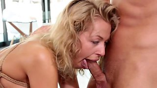 Blonde harlot is gang-banged by five super horny blokes