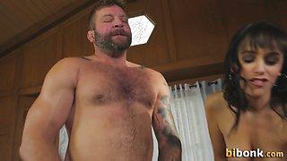 Cock sucked bisex bear