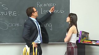 Teen beauty hops on his big dick at school for a ride