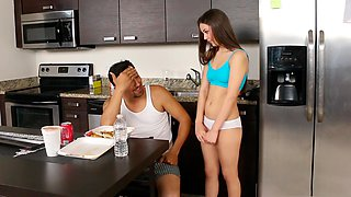 Horny daughter disturbs her step dad