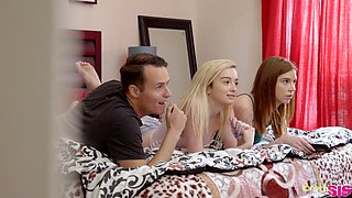 Lucky dude enjoys fucking stepsister Lexi Lore and her best friend