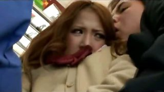 Asian Coed Gets Fingered in a Train!