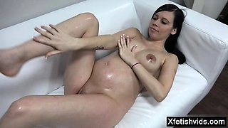 Brunette pregnant casting and cum on tits