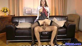 Classy schoolgirl bouncing on old man s dick with Dominica Phoenix