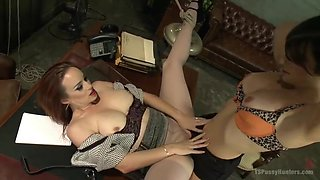 Gorgeous TS makes love w/ female co-worker in their Boss s office