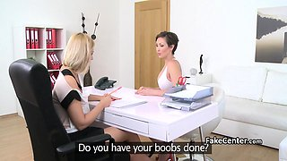 Lesbians fuck in 69 pose on casting