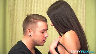 Pretty natural gal Bell Knock is busy with riding stiff dick on top