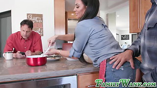Tattooed stepmother bangs with her son in front of husband