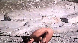 Nudist girls exposed by voyeur cam on beach