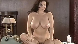 big tits strip teases on desk