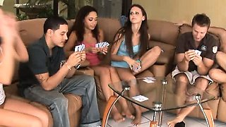 Hot hardcore teens sucking and fucking after strip poker