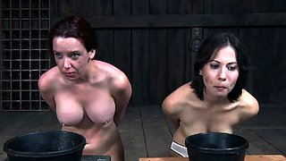 Lusty brunette bimbo is playing with her massive tits her