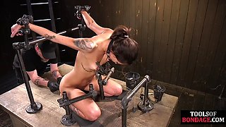 Cute BDSM slave drools during foot punishment
