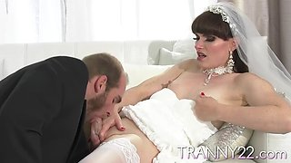 The true transsexual bride sucked and fucked at hotel room with Natalie Mars