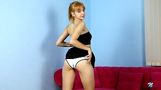Slim chick Marta Lovely gets all nude flashing small tits and masturbating