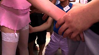 Delightful Japanese babe with lovely tits gets gangbanged
