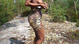 African chocolate brigitte in russian forest