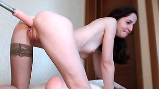 Amateur Brunette Hoochie Fucked By Sex Machine