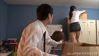 Sexy Japanese teacher Mira Tamana fucked by two guys