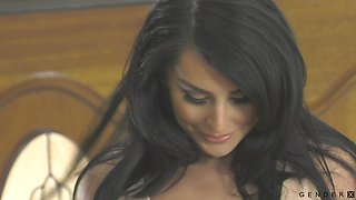 Tall black haired Tgirl Chanel Santini feels great fucking dude's ass doggy hard