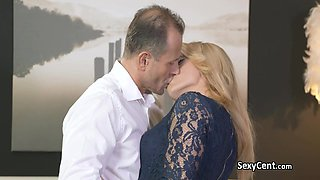 Chubby mature blonde fucks big cock
