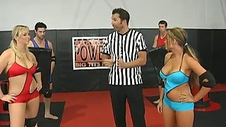 Two Wrestling Hotties Getting Their Holes Slammed