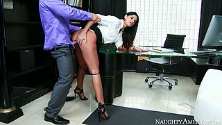 Sexy office chick gets drilled by her boss on the table