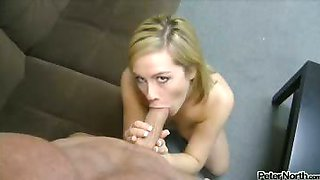She guzzles his jizz to the last drop after blowing him good