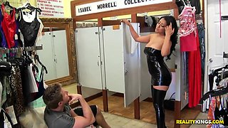 This latina mom is super sexy in black latex outfit