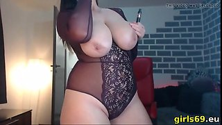 Smoking while showing my huge titties live on webcam