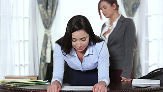 Sexy hot secretary chick named Karlee has her pussy drilled