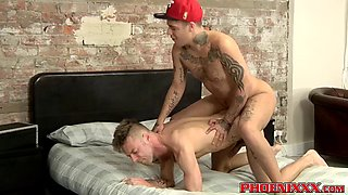 Inked UK gays Mickey Taylor and Tommy Skylar anal fuck