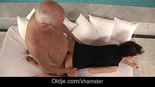 70 old fart 69 with young brunette whore