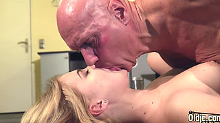 This young woman has sex with an older lover