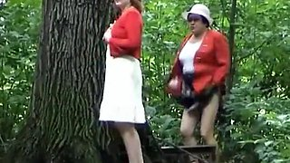 Fat granny caught by voyeur pissing