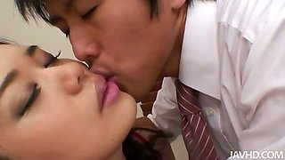 Yukari mets her boss after work in red and black lingerie