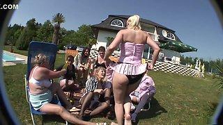 Horny pornstar in fabulous blowjob, outdoor porn scene