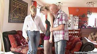 Old mom and dad seduce and bang their son\'s GF