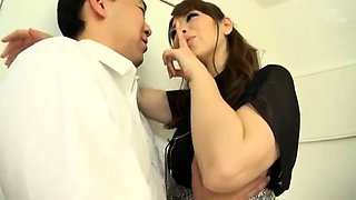 Busty Japanese nympho in stockings enjoys a gang of cocks