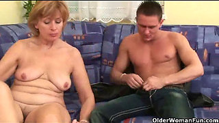 Nothing better that shooting your cum on mom s body -