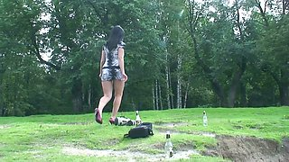 Naughty amateur raven haired babe has nothing against pissing