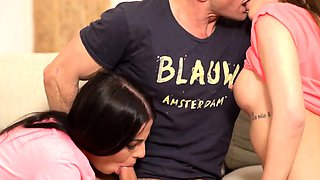 DADDY4K. Handsome mature man takes care of two teen